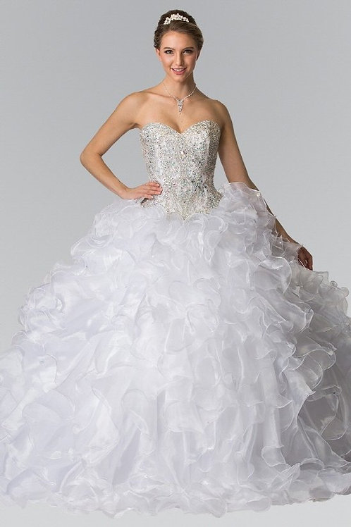 Dreamy Sweetheart Crystal Organza Quinceanera Gown