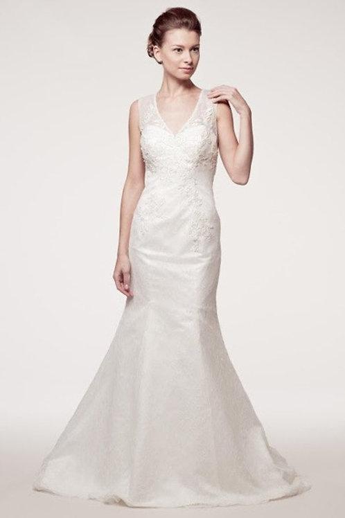 V-Neck Illusion Lace Embellished Mermaid Wedding Gown