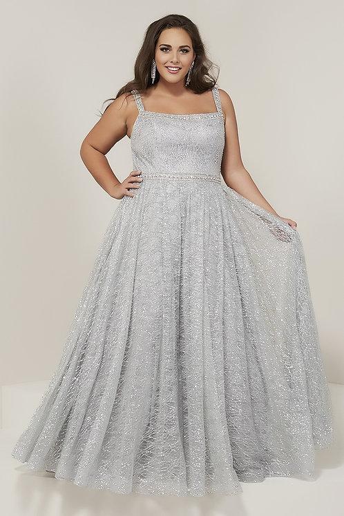 16381 Tiffany - Straight Neckline Shimmering Plus Size Prom Dress