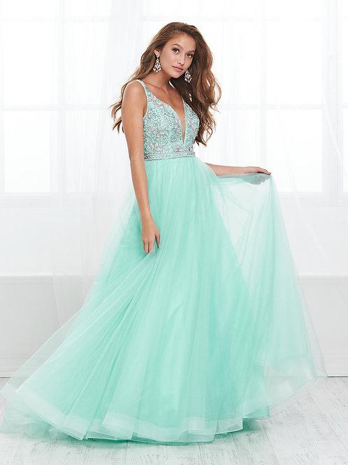 16410 Tiffany Design - Spaghetti Strap w. Deep V-Neck Tulle Prom Dress