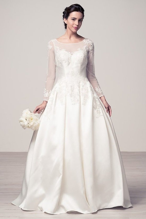 Illuison Sleeve & Top Lace Embellished Wedding Ball Gown