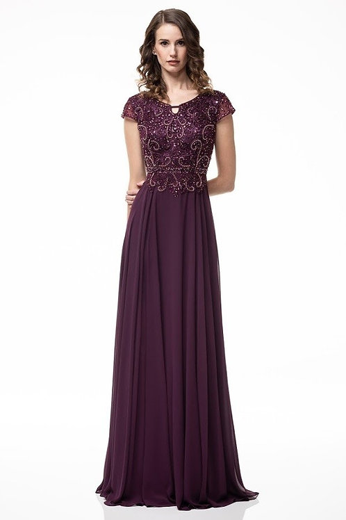 Cap Sleeve Lace Embillished Long Chiffon Mother of the Bride Dress
