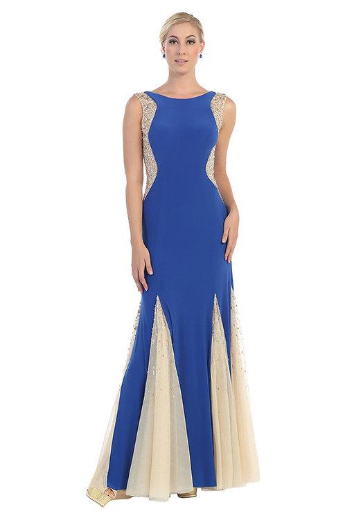 High Scoop Neckline Illusion Embellished Crystal Prom Dress