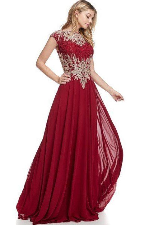 High Neckline Applique Long Chiffon Mother of the Bride Dress Dress