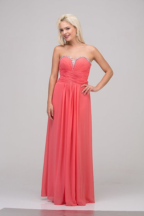 Rhinestone Sweetheart Neckline Chiffon Bridesmaid Dress