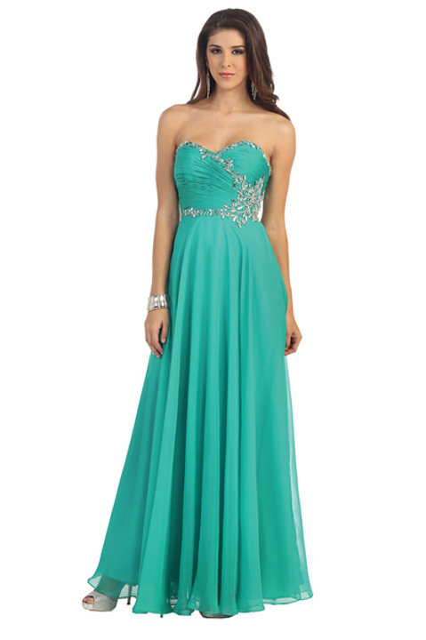 Sweetheart Ruched Crystal Beaded Chiffon Prom Dress