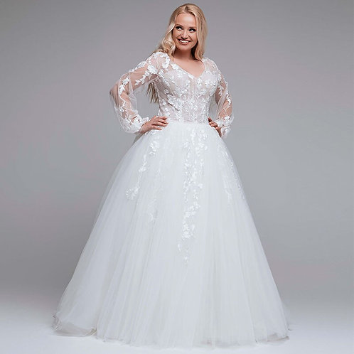 Long Illusion Lace Bishop Sleeve Plus Size Wedding Ball Gown