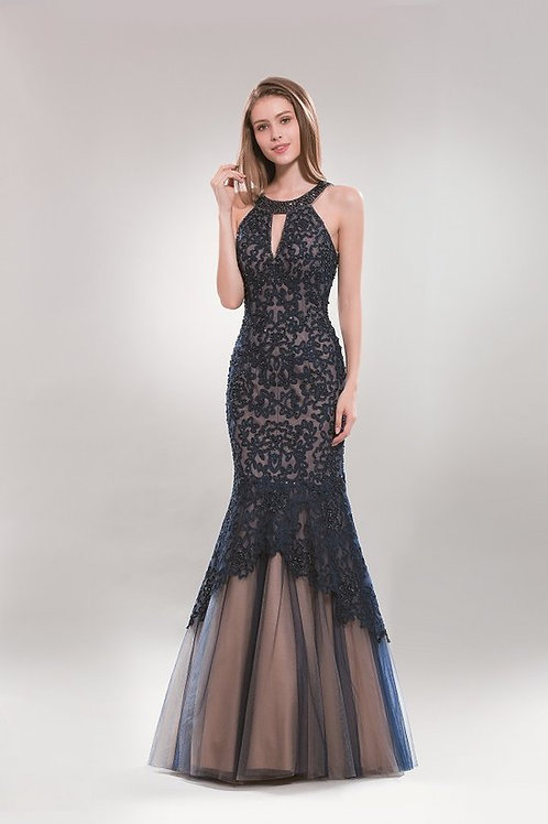 Halter Cut-Out Beaded Lace Mermaid Evening Gown