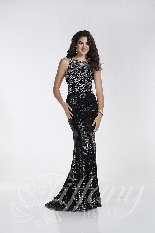 16298 Tiffany - Illusion Crystal Beaded Fitted Mermaid Maid of Honor Dress