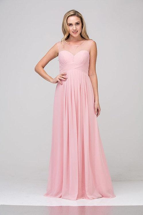 Sleeveless Illusion Top Ruched Pleated Chiffon Bridesmaid Dress
