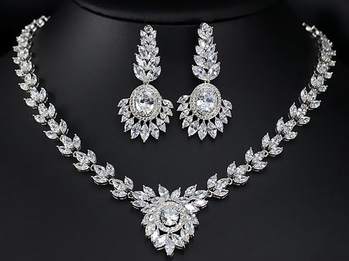 Embellished Cubic Crystal Designed Bridal Jewelry Set