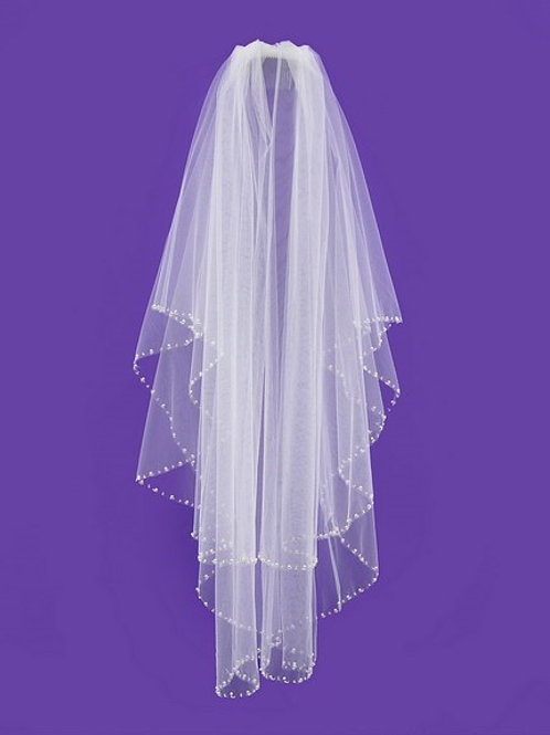Veil V1020 Pearl Beaded Edge