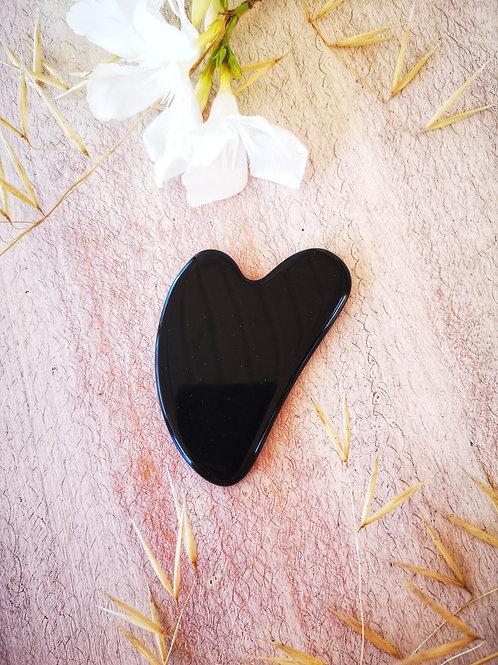 Black obsidian heart gua sha