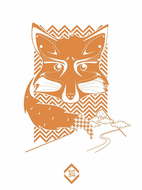 Kitsune fox travels- Limited edition signed print