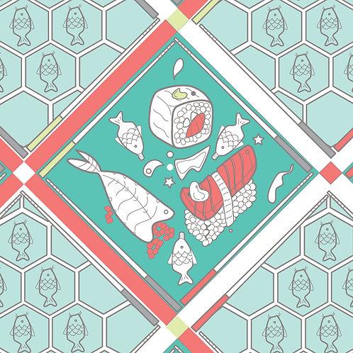Sushi (Dragon's Gate) Wallpaper- Teal