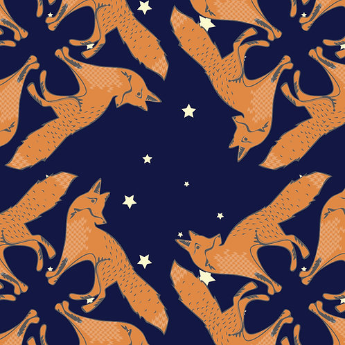Fox pattern wallpaper Midnight