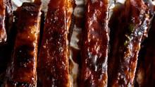 Sticky lamb ribs with honey & orange glaze