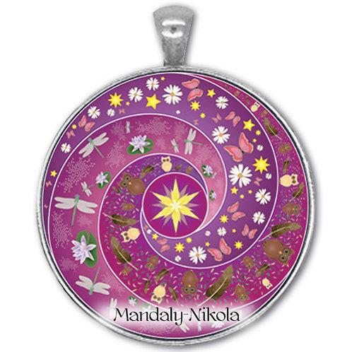 Spirálka fialová - přívěsek starostříbro