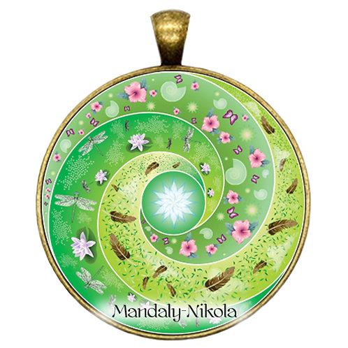 Spirálka zelená - přívěsek bronz