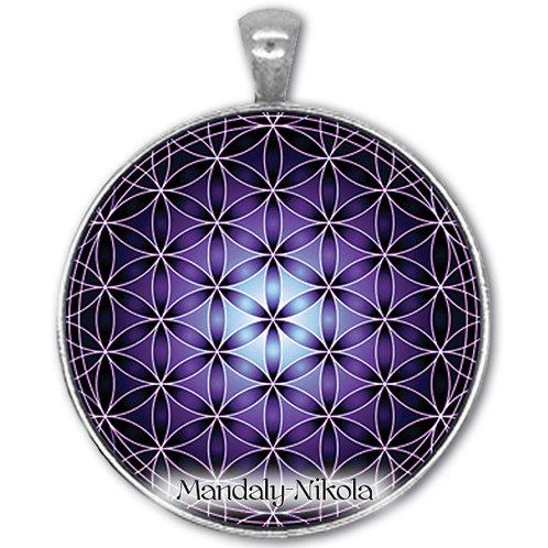 Květ života fialový - přívěsek starostříbro