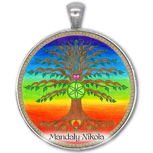 Strom života čakrový - přívěsek starostříbro