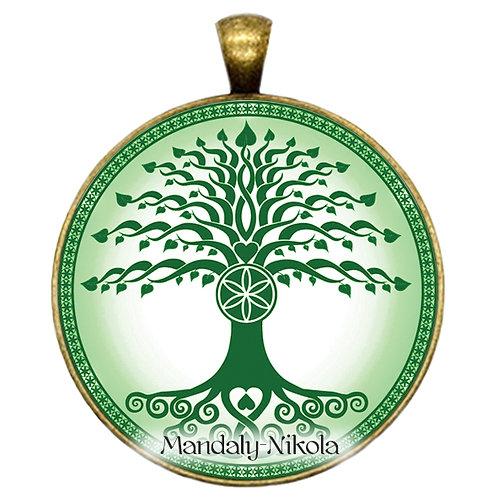 Strom života zelený - přívěsek bronz