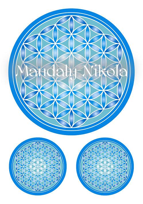 Samolepky na archu A3 - Květ života modrý