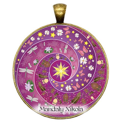 Spirálka fialová - přívěsek bronz