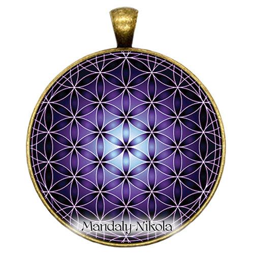 Květ života fialový - přívěsek bronz
