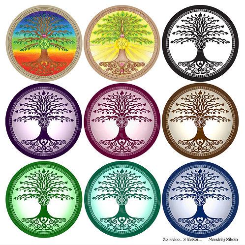 Aršík 9 ks samolepek - Strom života