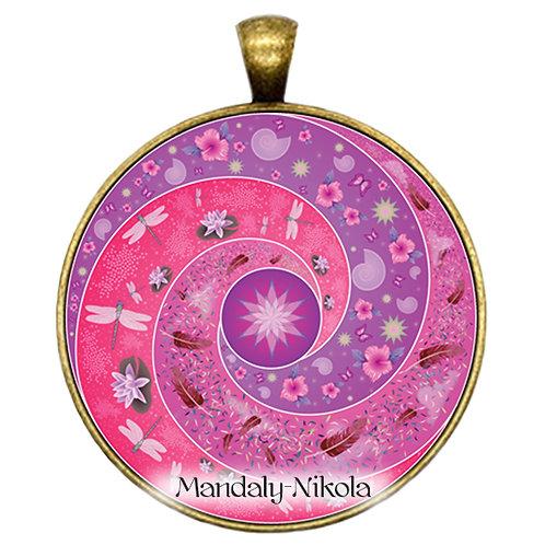 Spirálka růžová - přívěsek bronz