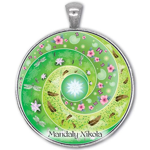 Spirálka zelená - přívěsek starostříbro
