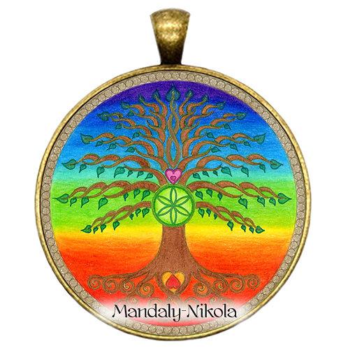 Strom života čakrový - přívěsek bronz