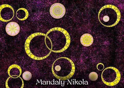 Usínací galaxie mandal 06 - dotvořený tisk na plátně - SVÍTÍ VE TMĚ