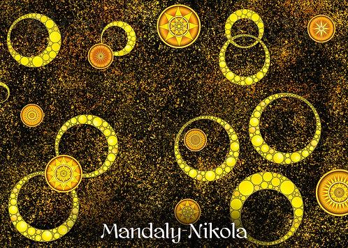 Usínací galaxie mandal 03 - dotvořený tisk na plátně - SVÍTÍ VE TMĚ