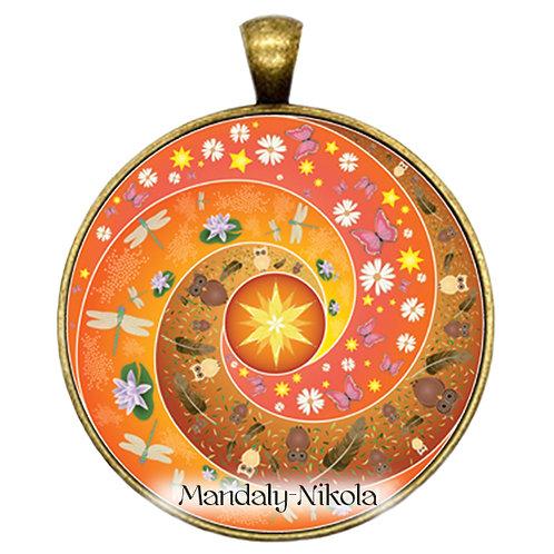 Spirálka oranžová - přívěsek bronz