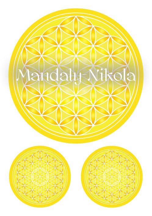 Samolepky na archu A3 - Květ života žlutý