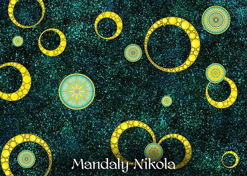 Usínací galaxie mandal 02 - dotvořený tisk na plátně - SVÍTÍ VE TMĚ