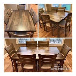 Rectangle Dining Table w/ Slat Black Cha