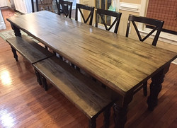 32 x 108 table, 6 chairs & 2 benches