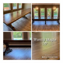 16' Wormy Maple Dining or Conference Tab