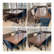 Wormy Maple Table w/ L Shaped Bench