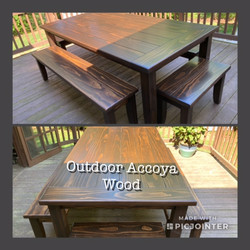Outdoor Accoya Wood Table & Benches