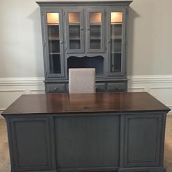 Weathered Gray Desk & Hutch