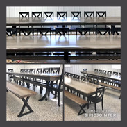 Custom Banquet Table w/ X Back Chairs an