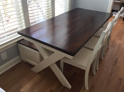 X Trestle Table with Storage Bench