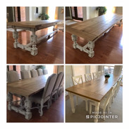 Plank Table with Ornate Base