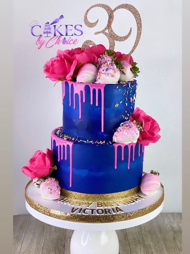 Butttercream drip floral cake