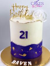 Purple & white buttercream cake
