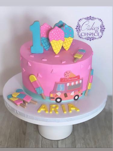 Ice Cream theme 1st Birthday cake